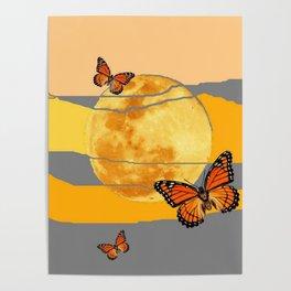 MOON & MONARCH BUTTERFLIES DESERT SKY ABSTRACT ART Poster