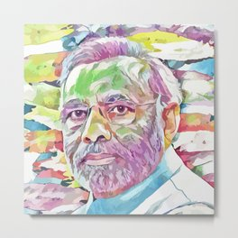 Narendra Modi (Creative Illustration Art) Metal Print