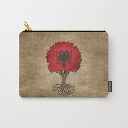 Vintage Tree of Life with Flag of Albania Carry-All Pouch
