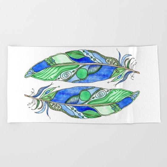 Bohemian Spirit Feathers - Blue & Green Beach Towel