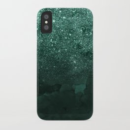 Green deep forest faux glitter ombre on green watercolor iPhone Case