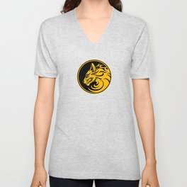 Yellow and Black Growling Wolf Disc Unisex V-Neck
