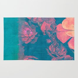 Rose Garden Blue 4- Texture Rose Study in red turquoise scarlet indigo watercolor wash Rug
