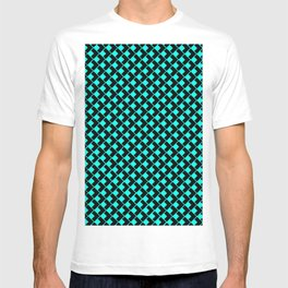 geometric abstract pattern azure and black background illustration T-shirt