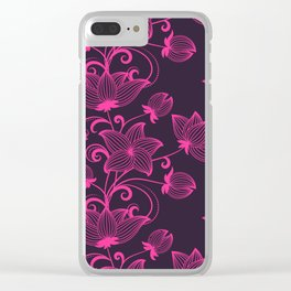 Bright colorful neon floral pattern Clear iPhone Case