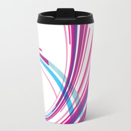RED AND BLUE SWIRLS ON A WHITE BACKGROUND Abstract Art Travel Mug