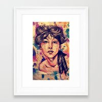 agnes Framed Art Prints featuring Agnes Mackenzie by Olga Noes