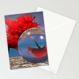poppy and crystal ball - refraction of light Stationery Cards