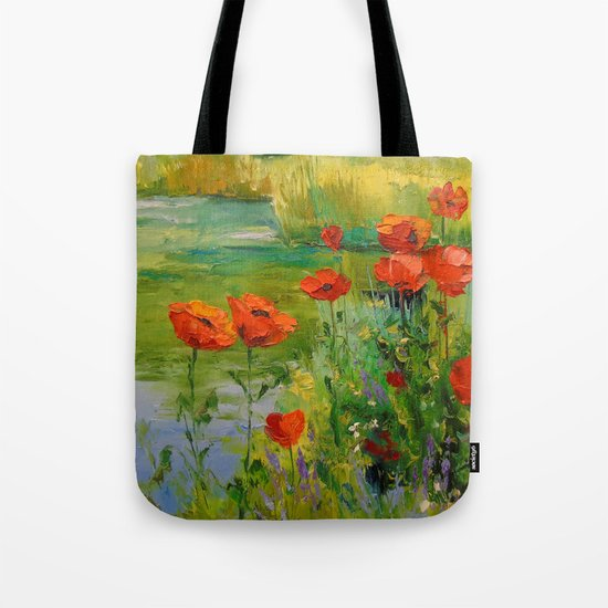 Poppies by the pond Tote Bag
