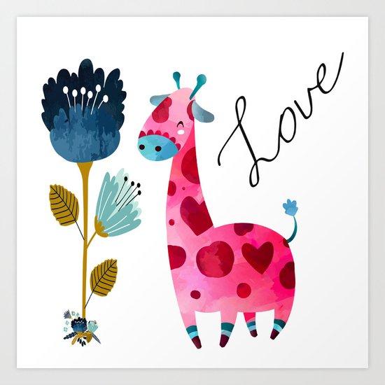 Love Girffe Art Print