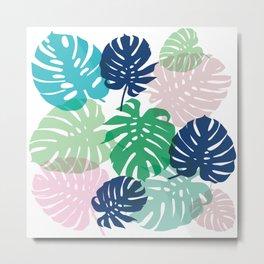 Tropical Monstera - pink Metal Print