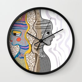 Girl Silhouette with Shapes VIII Wall Clock