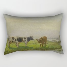 Bernardus Antonie van Beek - Cows in the Meadow Rectangular Pillow