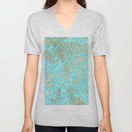 Abstract teal white faux gold modern pattern Unisex V-Neck