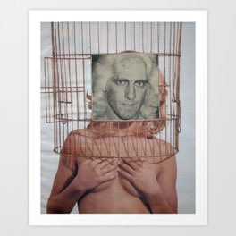 Bird in a Cage - Vintage Collage Art Print