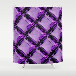SQUARE CUT PURPLE FEBRUARY AMETHYST GEMS DIAGONAL PATTERN Shower Curtain
