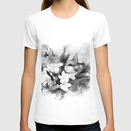 Butterflies and Frangipani in black and white T-shirt
