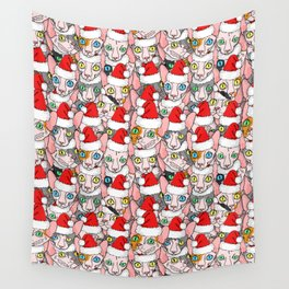 Christmas sphynx (naked cat) Wall Tapestry