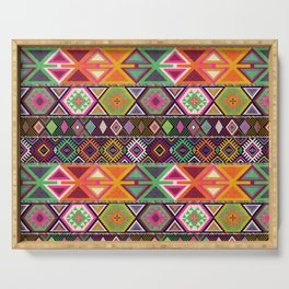 Aztec Artisan Tribal Bright Serving Tray