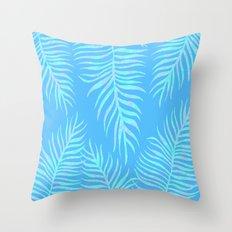Fern pattern on light blue background Throw Pillow