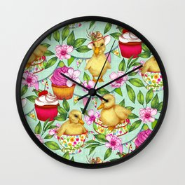 Ducklings' Spring Picnic Wall Clock