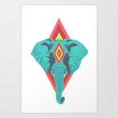 Neon Elephant Art Print