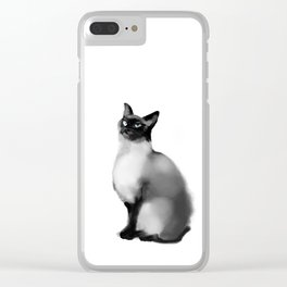 watercolor blue eyes cat Clear iPhone Case
