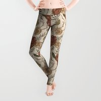 antique Leggings featuring Antique Floral Pattern by Jessica Roux