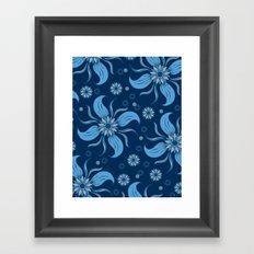 Floral Obscura Dark Blue Framed Art Print