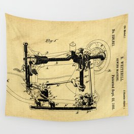 Sewing Machines Support Patent Drawing From 1885 Wall Tapestry