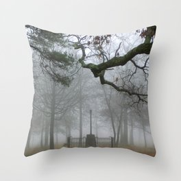 Foggy Forest Cemetery Throw Pillow