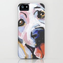 Yellow Lab Labrador Retriever Dog Portrait Pop Art painting by Lea iPhone Case