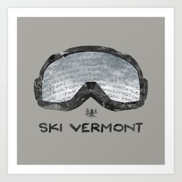 Ski Vermont Ski Goggles — Black with VT Mountains Art Print