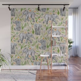 Baby Elephants and Egrets in Watercolor - neutral cream Wall Mural