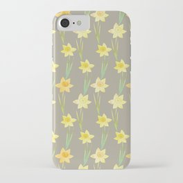 Yellow Watercolour Stemmed Daffodil Pattern iPhone Case