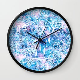 Mermaid blue turquoise watercolor boho dreamcatcher floral pattern Wall Clock