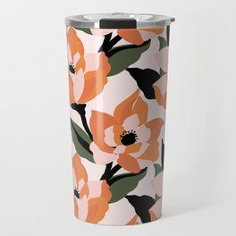 Bold orange poppy on a soft pink base Travel Mug