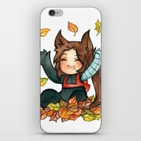 bucky iPhone & iPod Skins featuring fall - bucky by cynamon