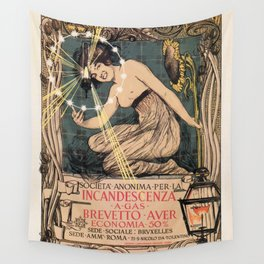 Italian art nouveau street gas lighting ad Wall Tapestry
