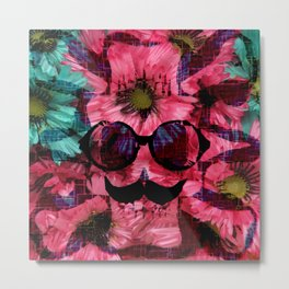 vintage old skull portrait with red and blue flower pattern abstract background Metal Print