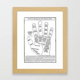 Black and White Vintage Palmistry Illustration Framed Art Print