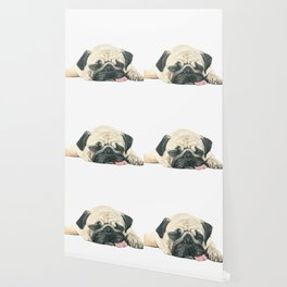 Nap Pug, Dog illustration original painting print Wallpaper