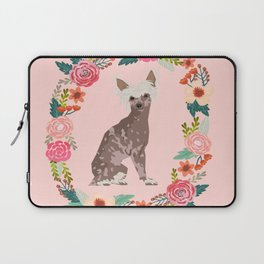 chinese crested dog floral wreath dog gifts pet portraits Laptop Sleeve