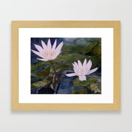 Watercolor Flower Water Lily Landscape Nature Framed Art Print