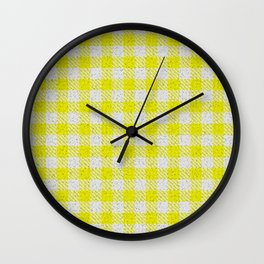 Yellow Buffalo Plaid Wall Clock