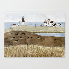 Seashore lighthouse and wild horses Canvas Print