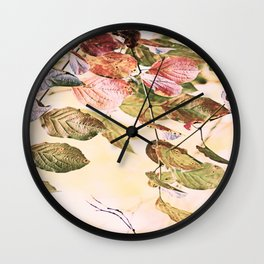Pastell Leaves  Wall Clock