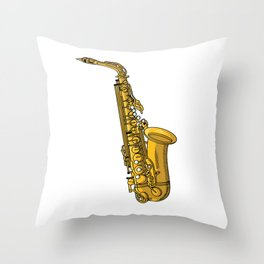 Saxophone Musical Instrument Gifts Saxophonist Throw Pillow