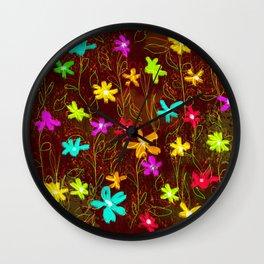Roadside Wildflowers Wall Clock
