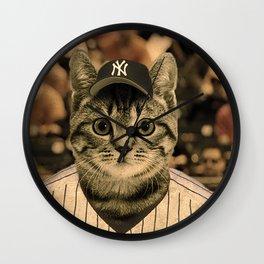 Baseball Cat Wall Clock